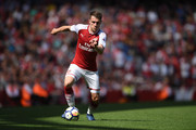 Aaron Ramsey of Arsenal in action during the Premier League match between Arsenal and West Ham United at Emirates Stadium on April 22, 2018 in London, England.