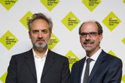 (L-R) Sam Mendes and Stephen Deuchar attend the announcement of the winner of the UK's largest arts prize, the £100,000 Art Fund Prize for Museum of the Year, presented by Sam Mendes at National Gallery on July 9, 2014 in London, England.