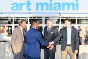 Joe Namath, Franklin Sirmans, Nick Korniloff and Commissioner Ken Russell attend the Art Miami CONTEXT 2017 at Art Miami Pavilion on December 5, 2017 in Miami, Florida.