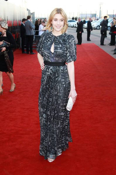 (UK TABLOID NEWSPAPERS OUT) Greta Gerwig attends the European premiere of Arthur at the Cineworld O2 on April 19, 2011 in London, England.