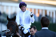 Paul Hanagan celebrates after he rides Sands of Mali to win The QIPCO British Champions Sprint Stakes during QIPCO British Champions Day at Ascot Racecourse on October 20, 2018 in Ascot, England.