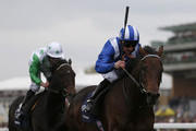 Paul Hanagan riding Muhaarar win The Qipco British Champions Sprint Stakes at Ascot racecourse on October 17, 2015 in Ascot, England.