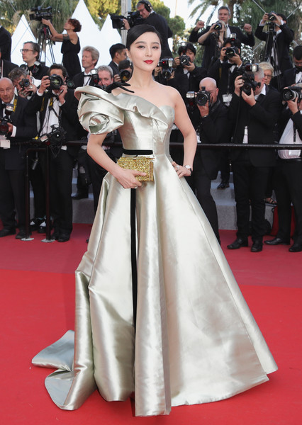 Fan Bingbing looked like a princess in a pale lime-green off-one-shoulder gown by Alexis Mabille Couture at the Cannes Film Festival screening of 'Ash is the Purest White.'