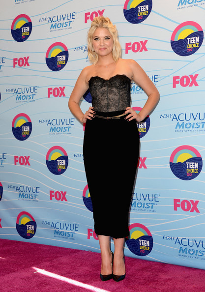 Ashley Benson Actress Ashley Benson poses in the press room during the 2012 Teen Choice Awards at Gibson Amphitheatre on July 22, 2012 in Universal City, California.