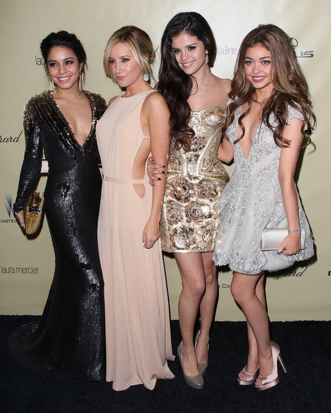 Ashley Tisdale (L-R) Actresses Vanessa Hudgens, Ashley Tisdale, Selena Gomez and Sarah Hyland attend The Weinstein Company's 2013 Golden Globe Awards After Party at The Beverly Hilton hotel on January 13, 2013 in Beverly Hills, California.