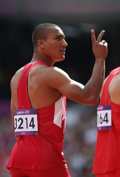 Ashton Eaton Ashton Eaton of the United States reacts after competing in the Men's Decathlon 100m Heats on Day 12 of the London 2012 Olympic Games at Olympic Stadium on August 8, 2012 in London, England.