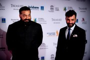 """Pyscho raman"" director Anurag Kashyap (L) and cinematographer Jay Oza pose on the red carpet at the Asia Pacific Screen Awards at the Brisbane Entertainment Centre in Brisbane on November 24, 2016.   / AFP / Patrick HAMILTON"