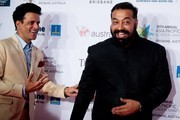 """Aligarh"" actor Manoj Bajpayee (L) and ""Pyscho Raman"" director Anurag Kashyap pose on the red carpet at the Asia Pacific Screen Awards at the Brisbane Entertainment Centre in Brisbane on November 24, 2016.   / AFP / Patrick HAMILTON"