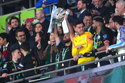Sergio Aguero of Manchester City lifts The Carabao Cup trophy following his side's victory during the Carabao Cup Final between Aston Villa and Manchester City at Wembley Stadium on March 01, 2020 in London, England.