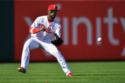 Andrew McCutchen #22 of the Philadelphia Phillies plays the ball in the fourth inning against the Atlanta Braves on Opening Day at Citizens Bank Park on March 28, 2019 in Philadelphia, Pennsylvania.
