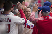 Daniel Nava #25 of the Philadelphia Phillies celebrates with teammates after scoring a run in the bottom of the seventh inning against the Atlanta Braves at Citizens Bank Park on April 23, 2017 in Philadelphia, Pennsylvania. The Phillies defeated the Braves 5-2.