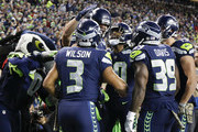 The Seattle Seahawks celebrate the touchdown by Jimmy Graham #88 during the first quarter of the game against the Atlanta Falcons at CenturyLink Field on November 20, 2017 in Seattle, Washington.