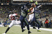 Tight end Jimmy Graham #88 of the Seattle Seahawks can't bring in a pass in the end zone in the second quarter against the Atlanta Falcons during the game at CenturyLink Field on November 20, 2017 in Seattle, Washington.