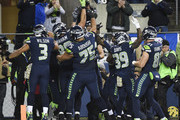 The Seattle Seahawks celebrate a four- yard touchdown by Jimmy Graham #88 in the first quarter during the game against the Atlanta Falcons at CenturyLink Field on November 20, 2017 in Seattle, Washington.