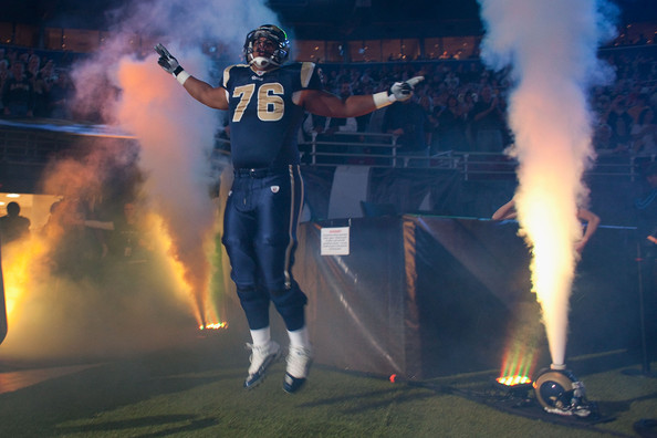 Rodger Saffold #76 of the St. Louis Rams is introduced prior to playing against the Atlanta Falcons at the Edward Jones Dome on November 21, 2010 in St. Louis, Missouri. The Falcons beat the Rams 34-17. (Getty Images)