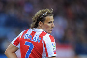 Diego Forlan of Atletico Madrid during the La Liga match between Atletico Madrid and Real Zaragoza at the Vicente Calderon stadium on September 26, 2010 in Madrid, Spain.
