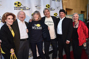 """Actors Kat Kramer, Ed Asner, Mimi Kennedy, anti nuclear strategist Harvey Wasserman, David Valentino and radio host Libbe HaLevy attend the Atomic Age Cinema Fest Premiere of """"The Man Who Saved The World"""" at Raleigh Studios on April 27, 2016 in Los Angeles, California."""