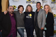 """Actors Ken Davitian, Frances Fisher, Mimi Kennedy, Esai Morales and Dr. Estella Sneider attend the Atomic Age Cinema Fest Premiere of """"The Man Who Saved The World"""" at Raleigh Studios on April 27, 2016 in Los Angeles, California."""