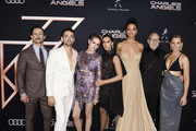 "(L-R) Jonathan Tucker, Luis Gerardo Mendez, Kristen Stewart, Naomi Scott, Ella Balinska, Patrick Stewart, and Director Elizabeth Banks attend Audi Arrivals at The World Premiere of ""Charlie's Angels"" on November 11, 2019 in Los Angeles, California."