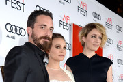 (L-R) Director Pablo Larrain and actresses Natalie Portman and Greta Gerwig attend the premiere of 'Jackie' at AFI Fest 2016, presented by Audi at The Chinese Theatre on November 14, 2016 in Hollywood, California.