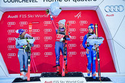 Tessa Worley of France takes 2nd place, Mikaela Shiffrin of USA takes 1st place, Manuela Moelgg of Italy takes 3rd place during the Audi FIS Alpine Ski World Cup Women's Giant Slalom on December 19, 2017 in Courchevel, France.