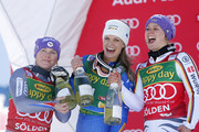Tessa Worley of France takes 2nd place, Viktoria Rebensburg of Germany takes 1st place, Manuela Moelgg of Italy takes 3rd place during the Audi FIS Alpine Ski World Cup Women's Giant Slalom on October 28, 2017 in Soelden, Austria.