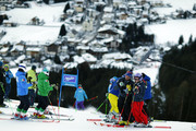 Tessa Worley of France inspects the course during the Audi FIS Alpine Ski World Cup Women's Giant Slalom on January 24, 2017 in Kronplatz, Italy