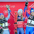 Tessa Worley Photos - Tessa Worley of France takes 2nd place, Mikaela Shiffrin of USA takes 1st place, Manuela Moelgg of Italy takes 3rd place during the Audi FIS Alpine Ski World Cup Women's Giant Slalom on December 19, 2017 in Courchevel, France. - Audi FIS Alpine Ski World Cup - Women's Giant Slalom