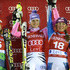 Maria Hoefl-Riesch Photos - (FRANCE OUT) Tanja Poutianen , Maria Hoefl-Riesch ,Mikaela Shiffrin on the podium  during the Audi FIS Alpine Ski World Cup Women's Slalom on November 10, 2012 in Levi, Finland. - Audi FIS Alpine Ski World Cup - Women's Slalom