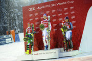 (FRANCE OUT) Tanja Poutianen , Maria Hoefl-Riesch ,Mikaela Shiffrin on the podium  during the Audi FIS Alpine Ski World Cup Women's Slalom on November 10, 2012 in Levi, Finland.
