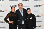 """Selenis Leyva, Nick Sandow and Lea Delaria attend """"The Half-Life of Marie Curie"""" hosted by Audible at the Minetta Lane Theatre on November 19, 2019 in New York City."""