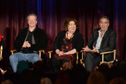 (L-R) Actors  Chris Cooper, Margo Martindale and George Clooney onstage during the 'August: Osage County' screening presented by The Weinstein Company at Westwood Village Theatre on November 11, 2013 in Los Angeles, California.