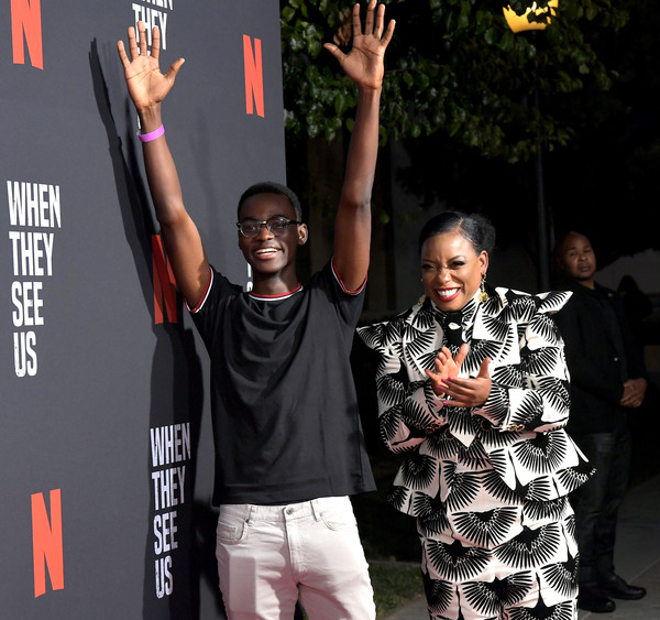 Netflix's 'When They See Us' Screening And Reception [when they see us screening reception,fashion,event,performance,street fashion,talent show,carpet,style,t-shirt,ethan herisse,aunjanue ellis,lot,california,hollywood,paramount theater,netflix,paramount studios,when they see us screening reception]