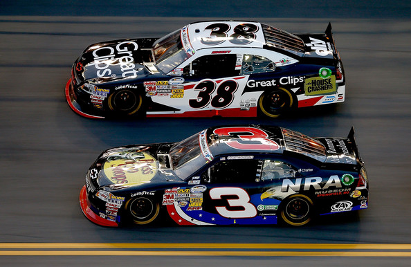 Austin Dillon, driver of the #3 Bass Pro Shops/NRA Museum Chevrolet, races Brad Sweet, driver of the #38 Great Clips Chevrolet, during the NASCAR Nationwide Series Subway Jalapeno 250 Powered by Coca-Cola at Daytona International Speedway on July 6, 2012 in Daytona Beach, Florida. (July 5, 2012 - Source: Chris Graythen/Getty Images North America)