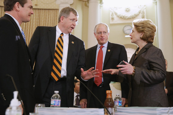 House and Senate Committees Meet on Capitol Hill [r,frank lucas,austin scott,debbie stabenow,michael conaway,conference cmte meets on federal agriculture reform act,event,official,businessperson,employment,management,business,collaboration,white-collar worker,conversation,alcohol,house,senate,house agriculture committee,conference committee]