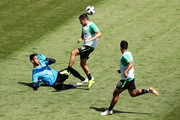 Brad Jones (L) and Jamie MacLaren of Australia take part during an Australian Socceroos training session at Stadium Trudovye Rezervy on June 22, 2018 in Kazan, Russia.