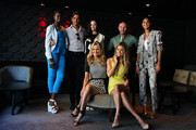 (front row) Charlotte Dawson, Jennifer Hawkins, (back row) Nyadak 'Duckie' Thot, Didier Cohen, Melissa Juratowitch, Alex Perry and Shanali Martin pose during a photo call on the eve of the 'Australia's Next Top Model' Finale at the Star on September 23, 2013 in Sydney, Australia.