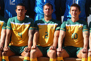 Tim Cahill, Lucas Neill and Harry Kewell of the Australian Socceroos pose for an official 2010 FIFA World Cup team photo at Kloofzicht Lodge on June 21, 2010 in Muldersdrift, South Africa.