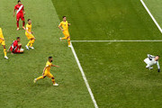 Paolo Guerrero of Peru scores his sides second goal past Mathew Ryan of Australia during the 2018 FIFA World Cup Russia group C match between Australia and Peru at Fisht Stadium on June 26, 2018 in Sochi, Russia.