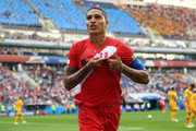 Peru player Paolo Guerrero celebrates after scoring during the 2018 FIFA World Cup Russia group C match between Australia and Peru at Fisht Stadium on June 26, 2018 in Sochi, Russia.