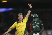 Brett Lee of Australia appeals unsuccessfully against Collins Obuya of Kenya drives during the 2011 ICC World Cup Group A match between Australia and Kenya at M. Chinnaswamy Stadium on March 13, 2011 in Bangalore, India.