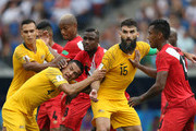 Australia and Peru players battle for possession during the 2018 FIFA World Cup Russia group C match between Australia and Peru at Fisht Stadium on June 26, 2018 in Sochi, Russia.