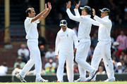 Imran Tahir of South Africa celebrates with team mates after dismissing Steve Smith of Australia A during day one of the International tour match between Australia A and South Africa at Sydney Cricket Ground on November 2, 2012 in Sydney, Australia.
