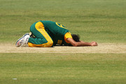 Imran Tahir of South Africa reacts after dropping a catch from George Bailey of Australia during game one of the men's one day international series between Australia and South Africa at WACA on November 14, 2014 in Perth, Australia.
