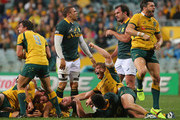 Nick Phipps,  Michael Hooper and Adam Ashley-Cooper of the Wallabies celebrate victory at the final whistle as Bryan Habana of the Springboks looks on during The Rugby Championship match between the Australian Wallabies and the South African Springboks at Patersons Stadium on September 6, 2014 in Perth, Australia.