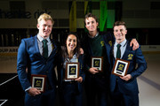 Australian Winter Olympic athletes Jarryd Hughes, Lydia Lassila, Scott James and Matt Graham pose for a portrait after athletes were presented at the official welcome home ceremony at O'Brien Group Arena on March 22, 2018 in Melbourne, Australia. Australia finished 23rd on the Winter Olympics medal tally, winning two silver medals and one bronze.