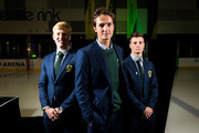 Australian Winter Olympic athletes Jarryd Hughes, Scott James and Matt Graham pose for a portrait after athletes were presented at the official welcome home ceremony at O'Brien Group Arena on March 22, 2018 in Melbourne, Australia. Australia finished 23rd on the Winter Olympics medal tally, winning two silver medals and one bronze.