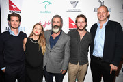 "(L-R) Andrew Garfield, Teresa Palmer, Mel Gibson, Luke Bracey  Vince Vaughn, attend Australians In Film Presents ""Hacksaw Ridge"" Screening and Q&A With Mel cast members at Ahrya Fine Arts Movie Theater on October 21, 2016 in Beverly Hills, California."