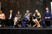"(L-R) AIF moderator Jenny Cooney,Vince Vaughn, Luke Bracey, director Mel Gibson, Teresa Palmer, Andrew Garfield attend Australians In Film Presents ""Hacksaw Ridge"" Screening and Q&A With Mel cast members at Ahrya Fine Arts Movie Theater on October 21, 2016 in Beverly Hills, California."