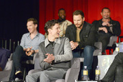 (L-R) Actors Benedict Cumberbatch, Tom Holland, Winston Duke, Chris Pratt, and Dave Bautista attend the Global Press Conference at the Avengers: Infinity War Press Junket in Los Angeles, CA April 22nd, 2018